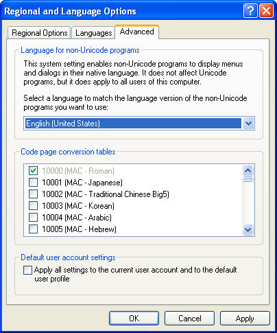 Language setting for non-Unicode programs Windows XP