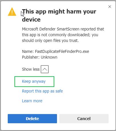 Edge Blocked Download