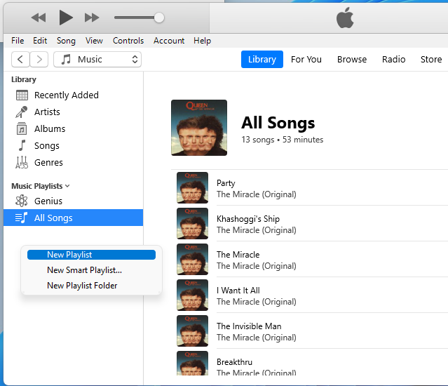 iTunes Create Playlist