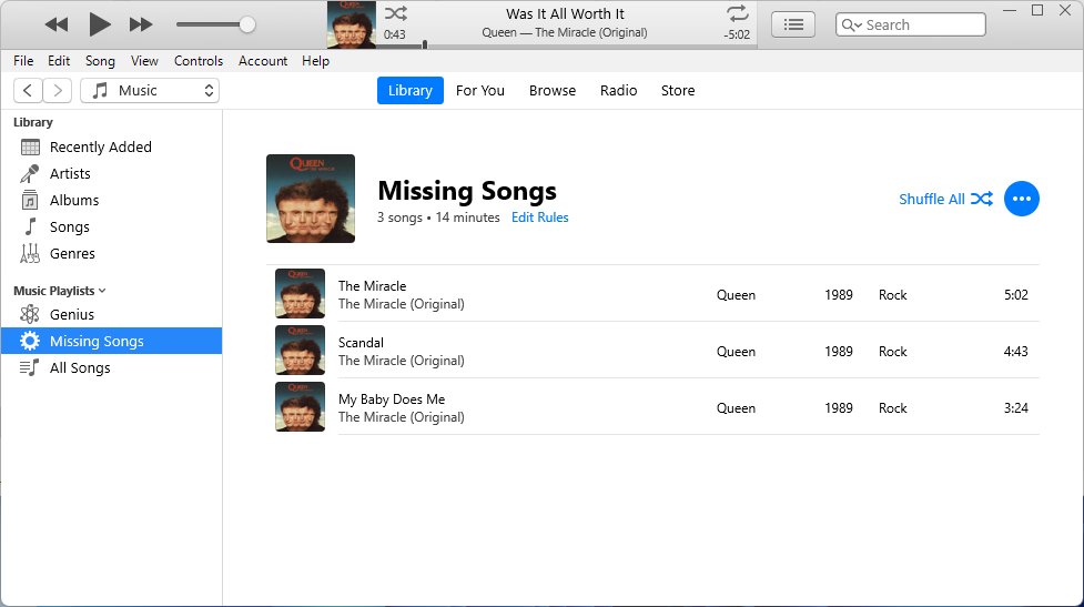 iTunes Missing Songs List