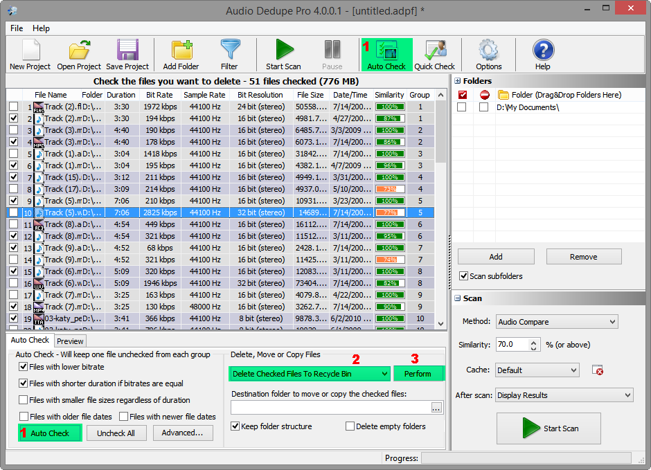 Duplicate Audio finder Results