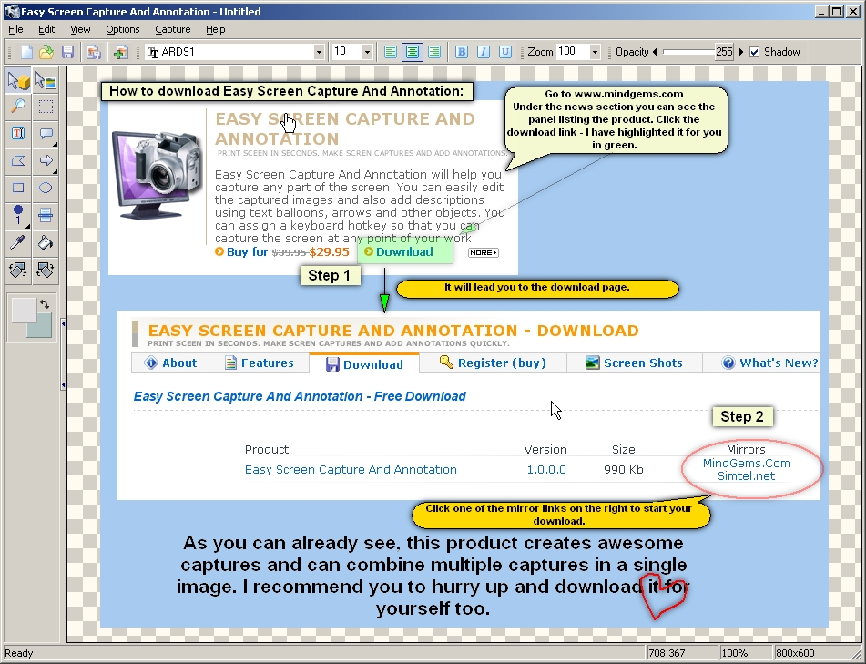 Easy Screen Capture And Annotation lets you capture and edit images quickly.