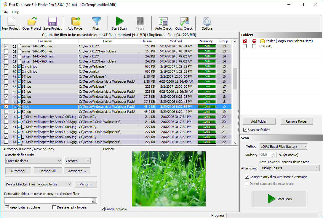Fast Duplicate File Finder full screenshot