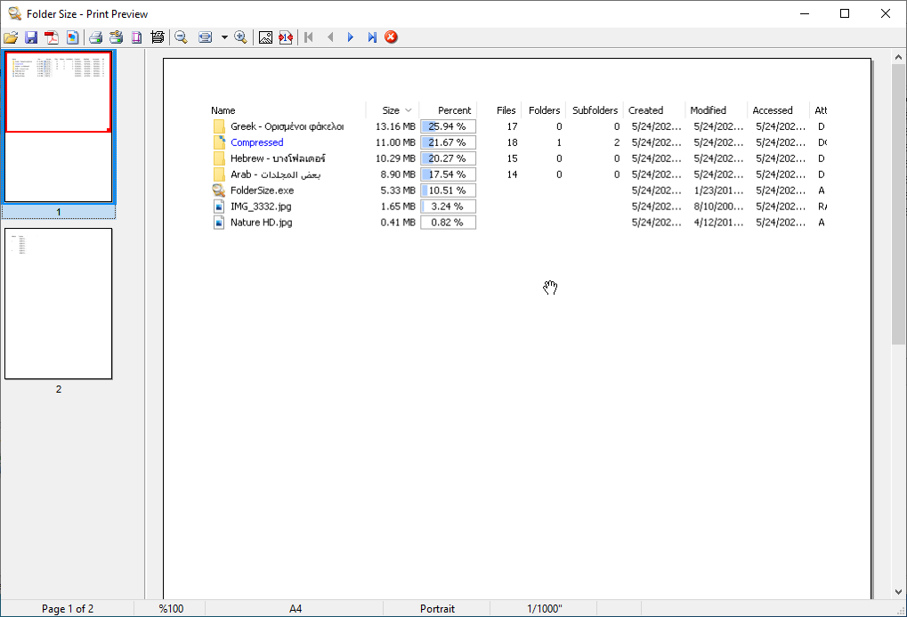 Folder Size screenshot