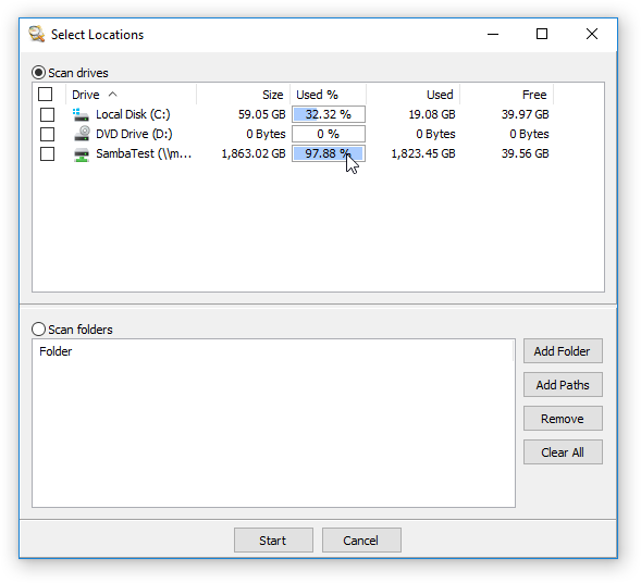 Scan Multiple Locations - Drive Size Analysis
