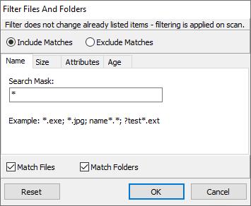 Folders List and Files List Filtering